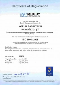ISO 9001:2008 Kalite Belgesi